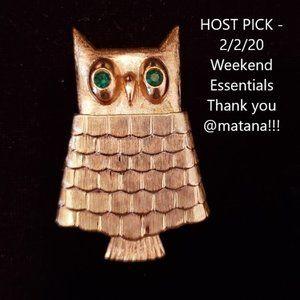 Vintage Avon Jewelled Owl Pin Brooch